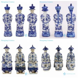 RZKC25/27 China Qing dynasty 3 emperors blue and white ceramic statue