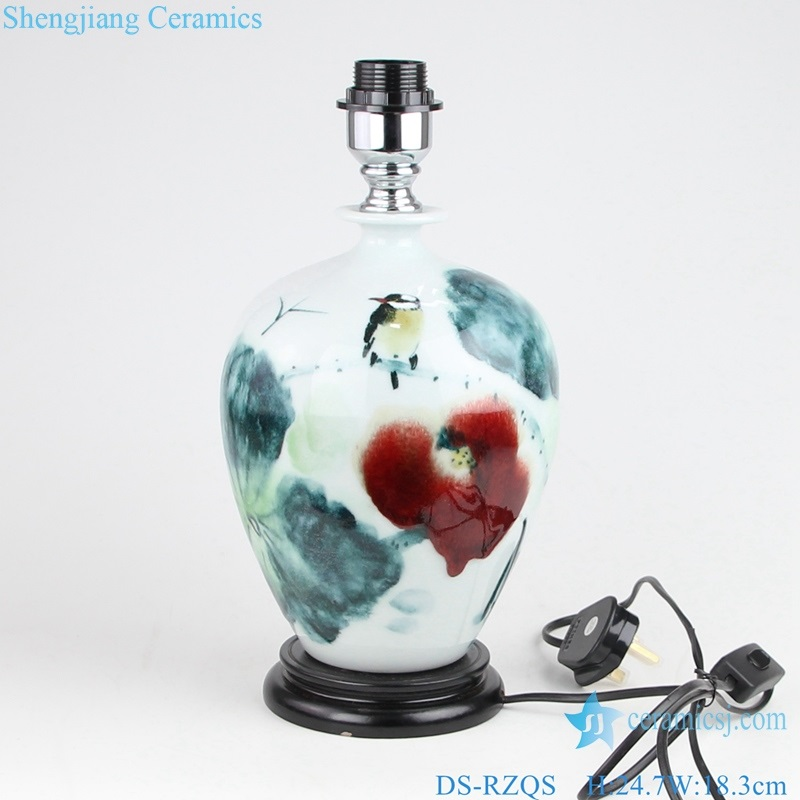 ceramic lamp with lotus flowers and birds under glaze