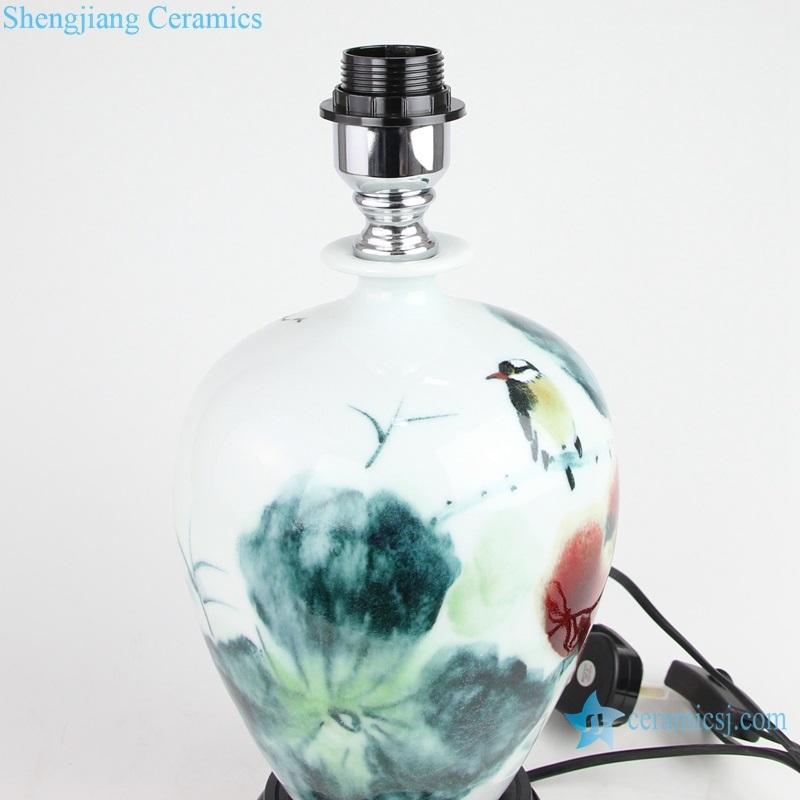 ceramic lamp under glaze side view