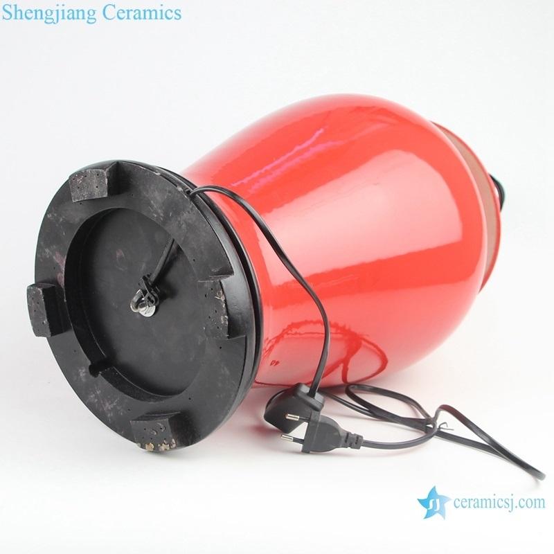 Jingdezhen Colour glaze wine red ceramic lamp side cut