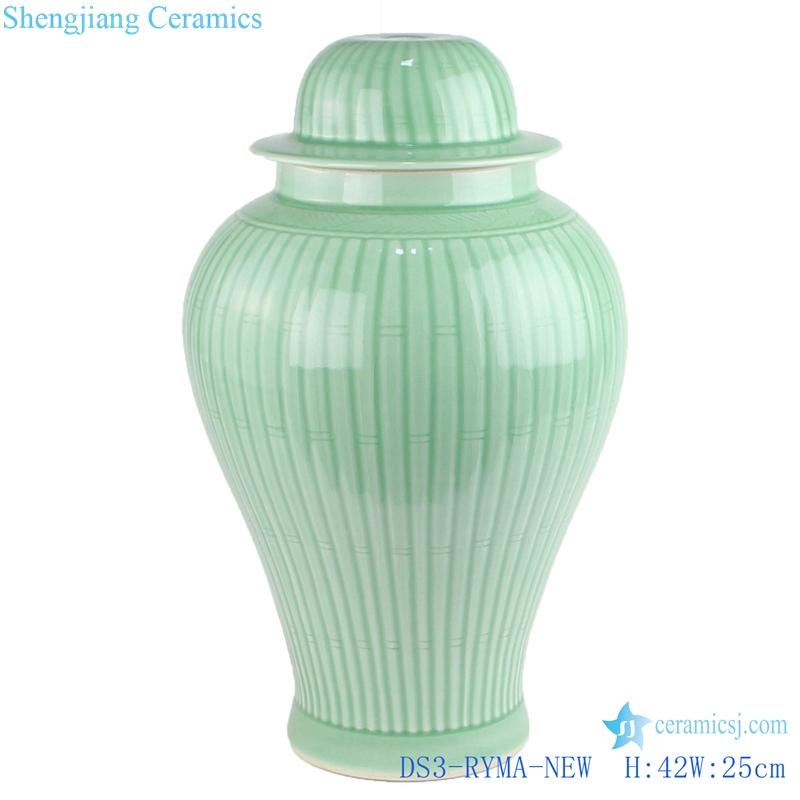 handcraft carved stripe ceramic lamp for general jar