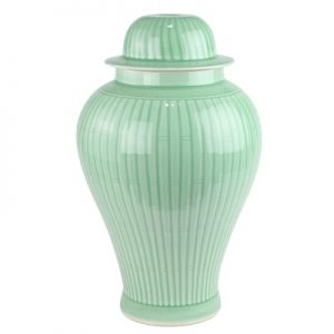 DS3-RYMA-NEW china Shengjiang Shadow green handcraft carved stripe ceramic lamp for general jar