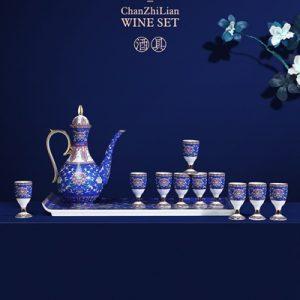 RYGJ02 Jingdezhen Cloisonne enamel medallion wine set with 14 imperial blue pieces