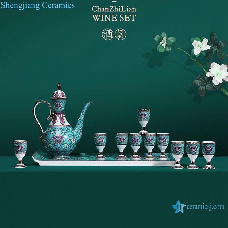 Jingdezhen Cloisonne enamel medallion wine