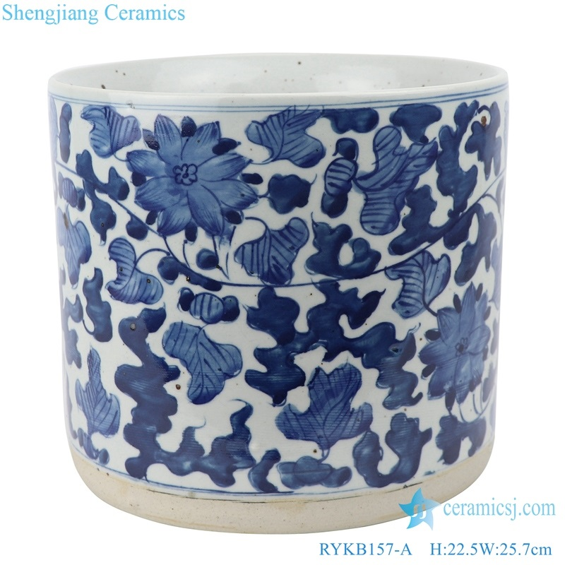 Archaize blue and white winding brush barrel incense burner