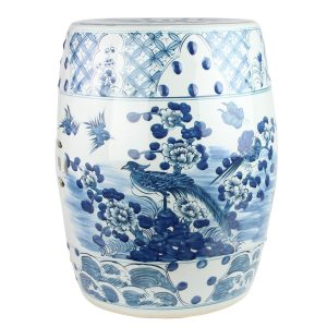 RYKB158-A Jingdezhen Hand-painted blue and white flower and bird ceramic drum nail stool