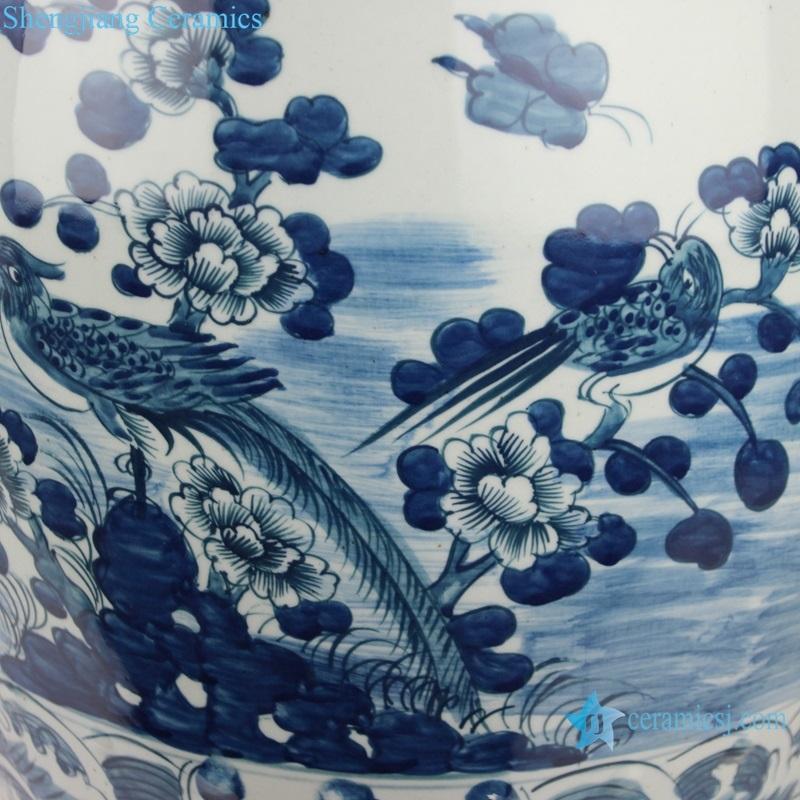 flower and bird ceramic drum nail stool detail