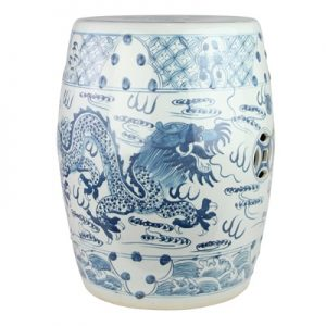 RYKB158-B Jingdezhen Hand-painted blue and white dragon pattern ceramic drum nail stool