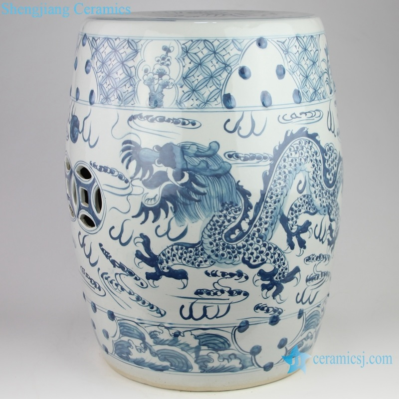 dragon pattern ceramic drum nail stool side view