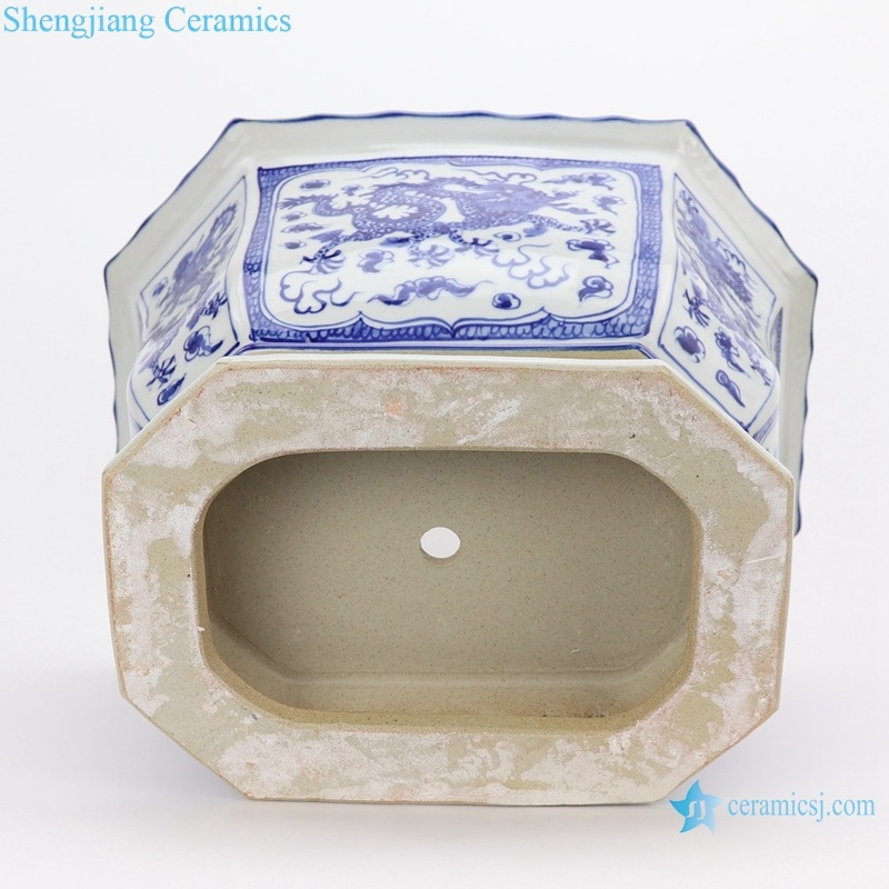 RYLU167-C Archaized hand-painted blue and white flower pot with octagonal octagon, octagon and dragon design