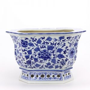 RYLU167-D Archaized hand-painted blue and white octagonal octagonal octagonal peony flowerpot