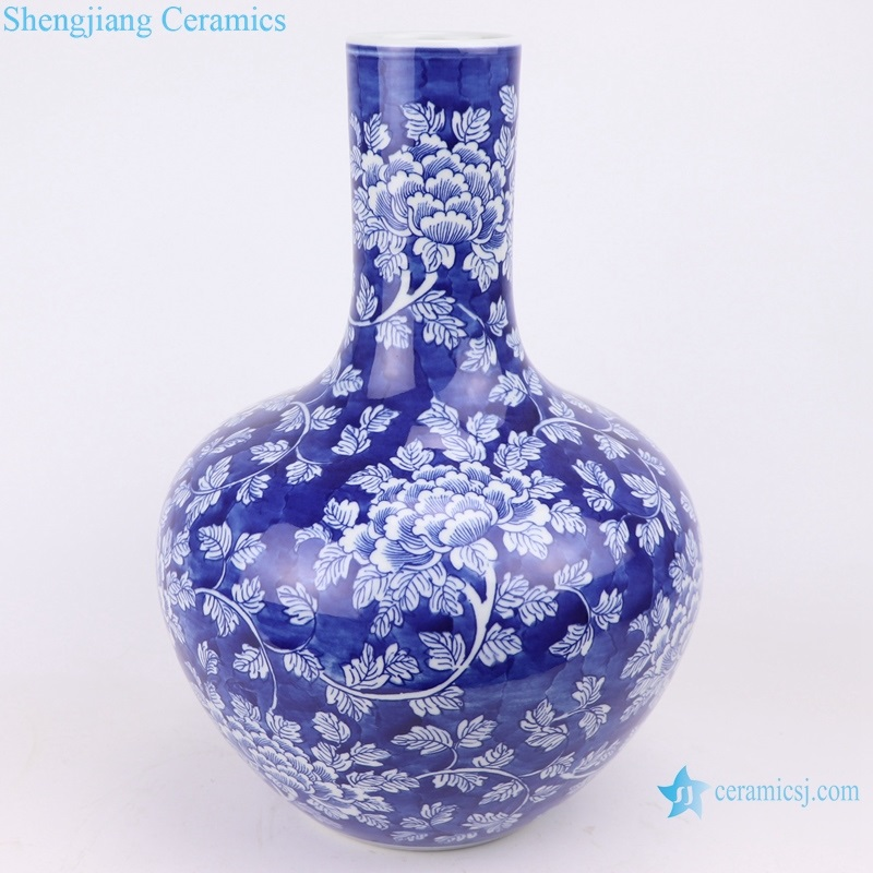 Chinese ice plum twined peony flower vase