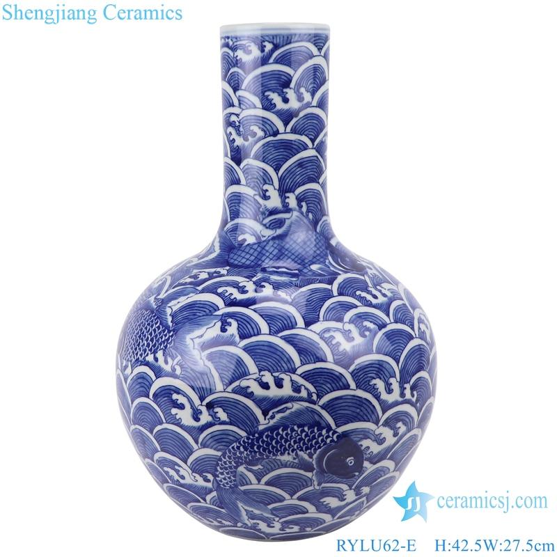 hand-painted blue and white sea fish grain globe