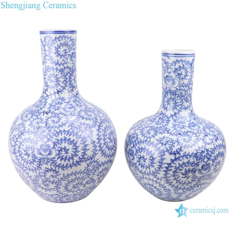 Jingdezhen Blue and white twined twig string flower rattan grain vase