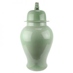 RYNQ260 Jingdezhen Shadow green beans blue color glaze lion head lid general pot