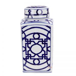 RYPU19-B Jingdezhen Blue and white square copper money grain tea pot