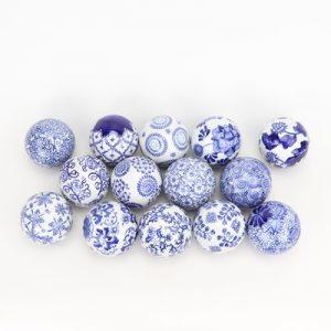 RYPU23-D8 Jingdezhen Blue and white flower pattern ceramic ball decorative ball round float ball