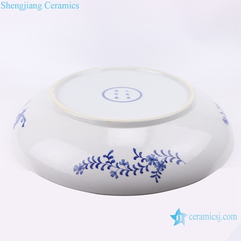 Hand-painted flower-and-bird plate bottom