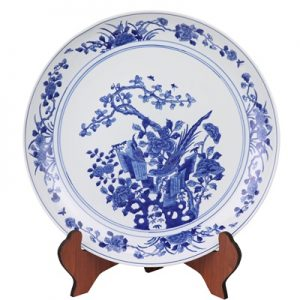 RYQQ44-G Jingdezhen Hand-painted blue white flower-and-bird plate