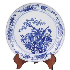 RYQQ44-G Jingdezhen Hand-painted blue white flower-and-bird plate