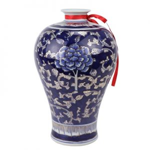 RYTA12 Jingdezhen Antique hand-painted blue and white painted gold peony plum vase