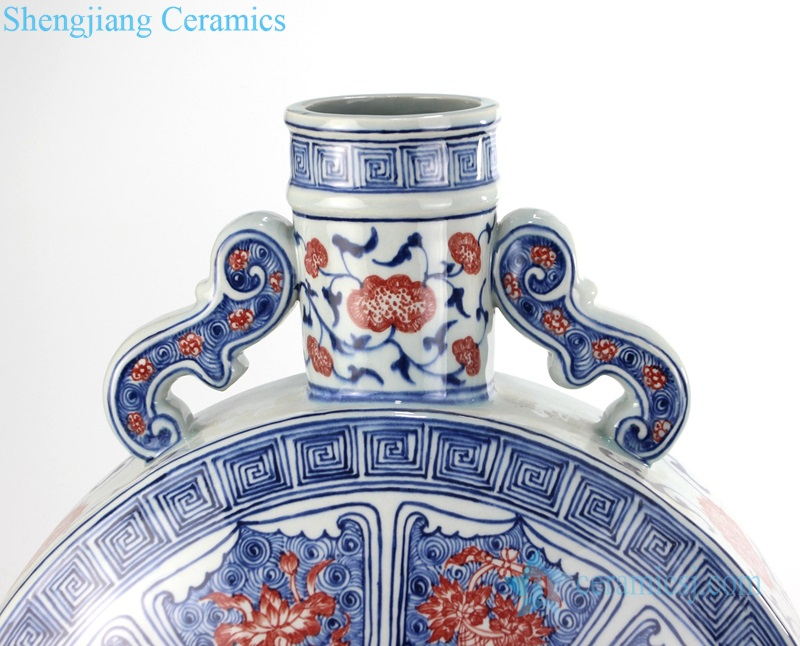 RYVK14 Archaize to do old blue and white glaze red flat vase manual flower arrangement