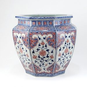 RYVK15 Jingdezhen Shengjiang Blue glaze red eight - sided VAT