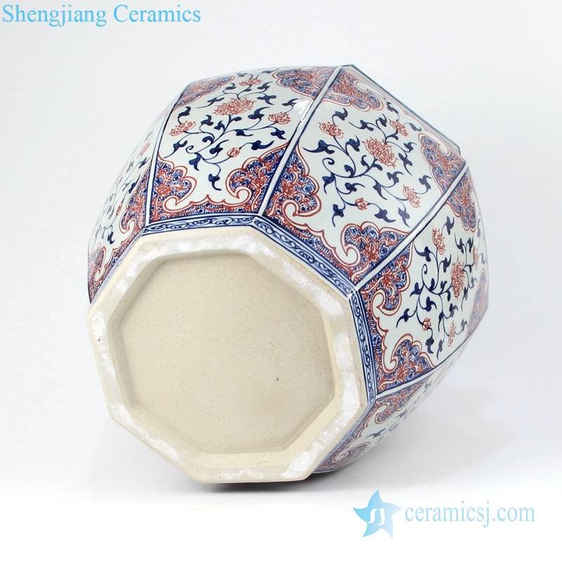 RYVK15 Jingdezhen Shengjiang Blue glaze red eight - sided VAT