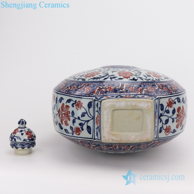Archaize blue and white flat vase manual bottom