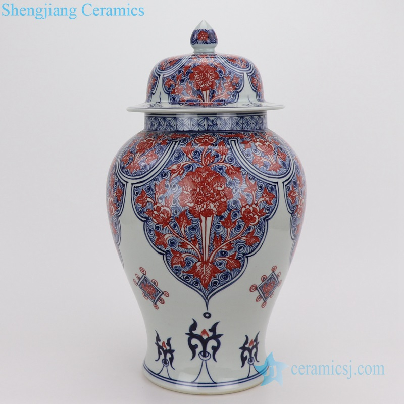 Porcelain vases red flower porcelain