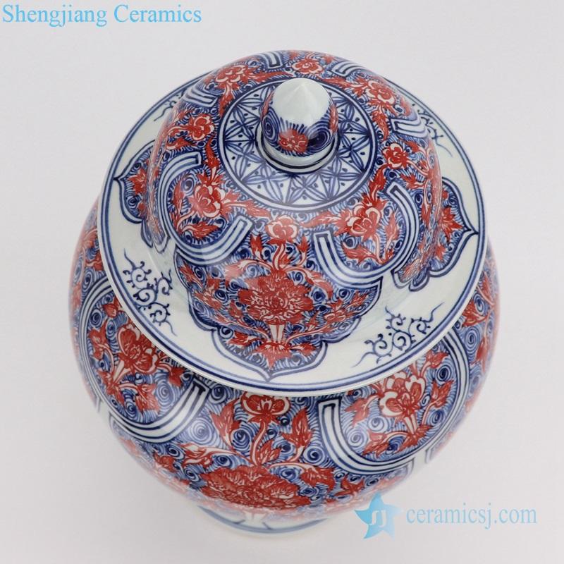 Porcelain vases red flower porcelain top view