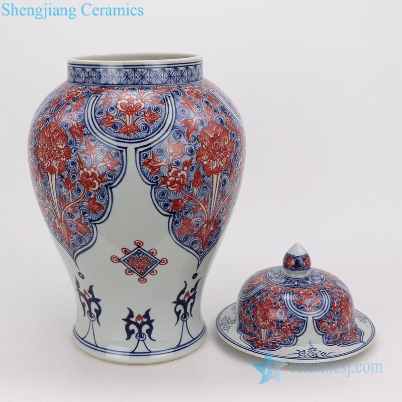 Porcelain vases red flower porcelain beautiful