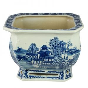 RYVM37 Archaize hand-painted blue and white square octagonal landscape pavilion big pot