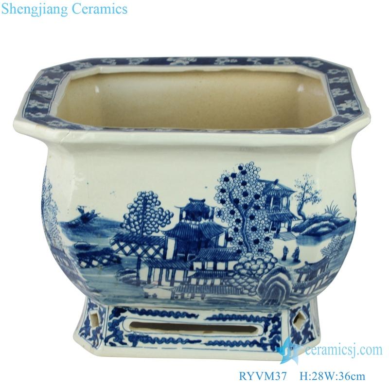 Archaize hand-painted landscape pavilion big pot