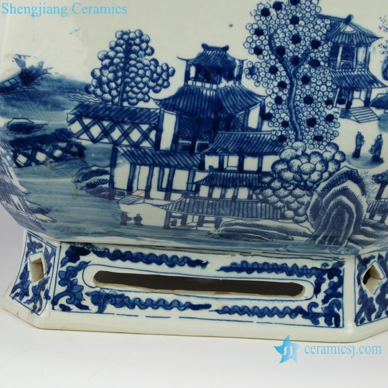 hand-painted landscape pavilion big pot detail