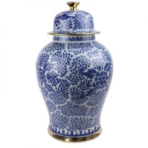 RYWD33 Jingdezhen Archaize blue and white gold - plated border painted grape peony general pot