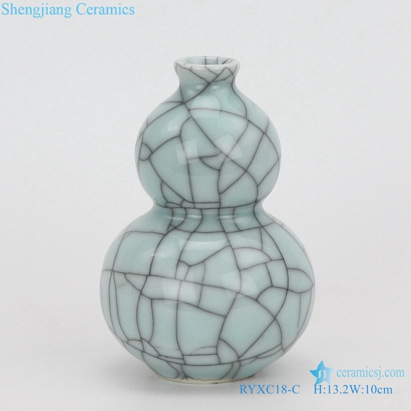 Longquan celadon geyao crack glaze wire gourd vase