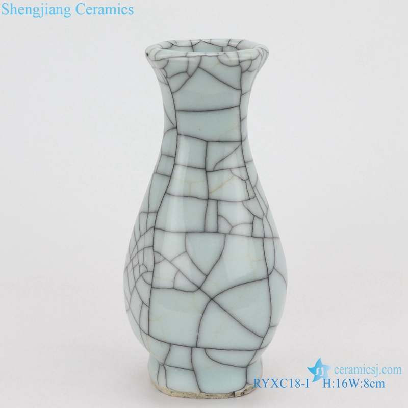 Longquan six - sided flat pot vase small vase