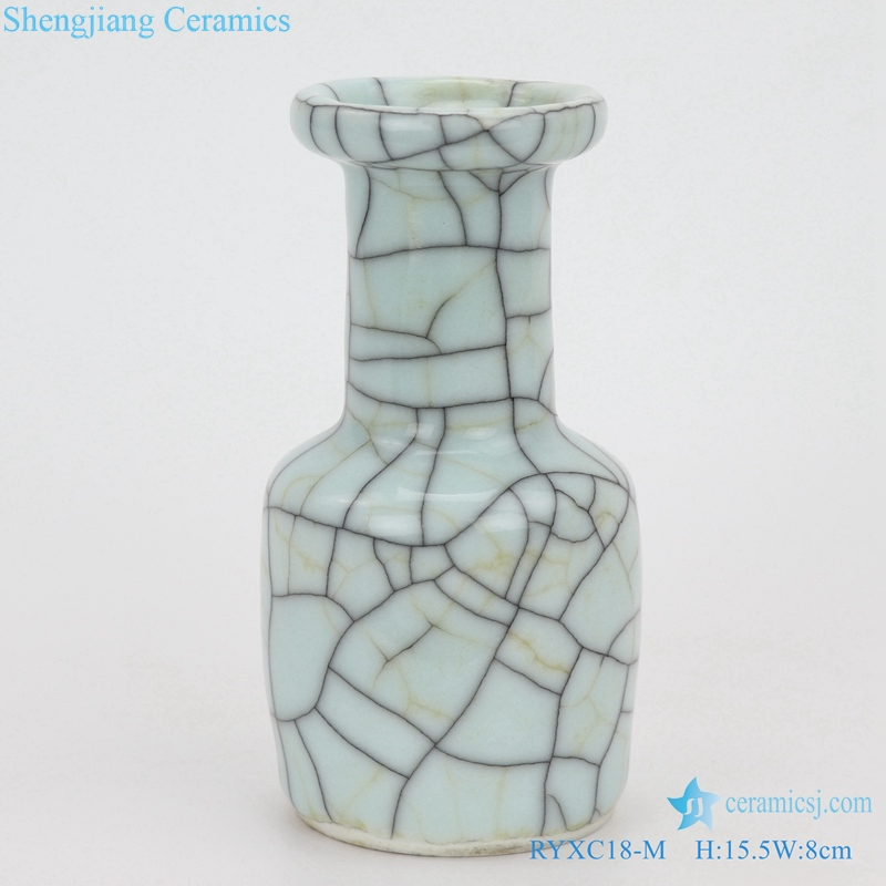 crack glaze iron line grain square pot vase