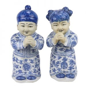 RYXZ19 Flower ceramic sculpture golden boy jade girl boy girl kung hei fat choy boy set up a pair