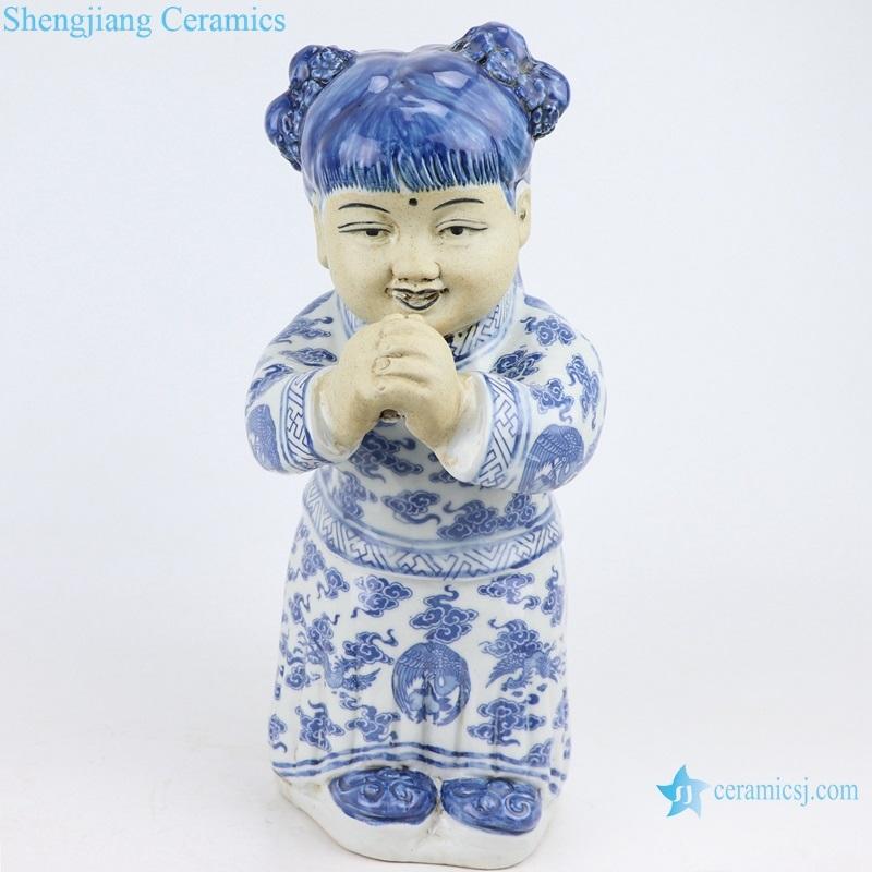 beautiful Flower ceramic sculpture girl decorations