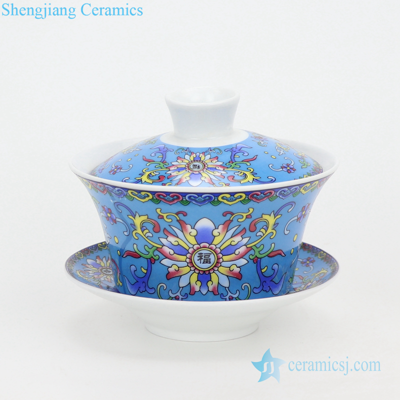 white porcelain kung fu tea set with three bowls