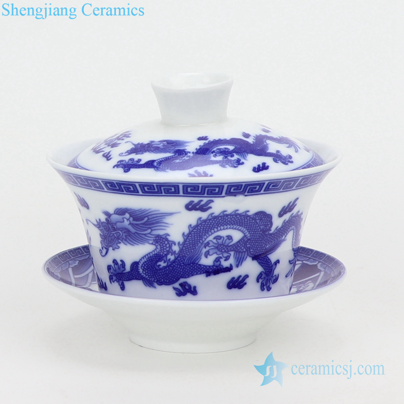chinese style kung fu tea set with three bowls