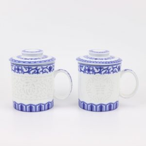 RYYY44-AorB Blue and white exquisite carving blessing with cover and water cup