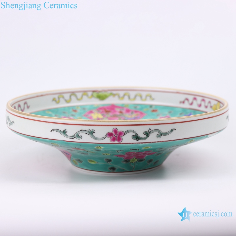 traditinal qing dynasty painted high-foot fruit bowl
