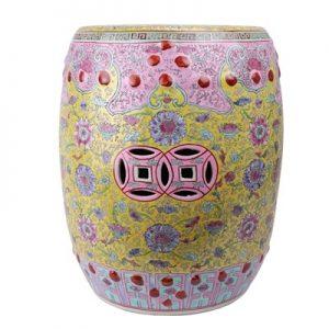 RZAI04 Jingdezhen Shengjiang famille rose Qing Dynasty syle ceramic stool
