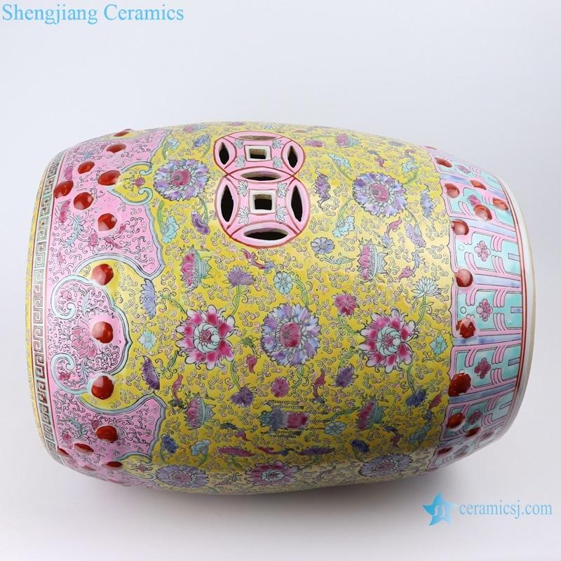 chinese style family rose ceramic stool