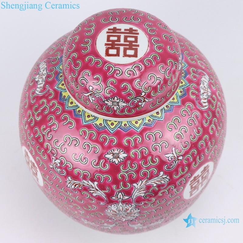 Chinese style jar printing word means lucky