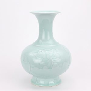 RZCK02 Jingdezhen Color glaze bean green shadow green carving lotus vase