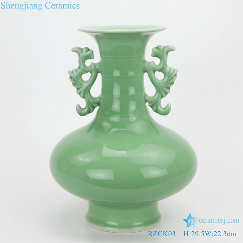 RZCK03 Jingdezhen Colour glaze green glaze double ear bamboo jointed vase